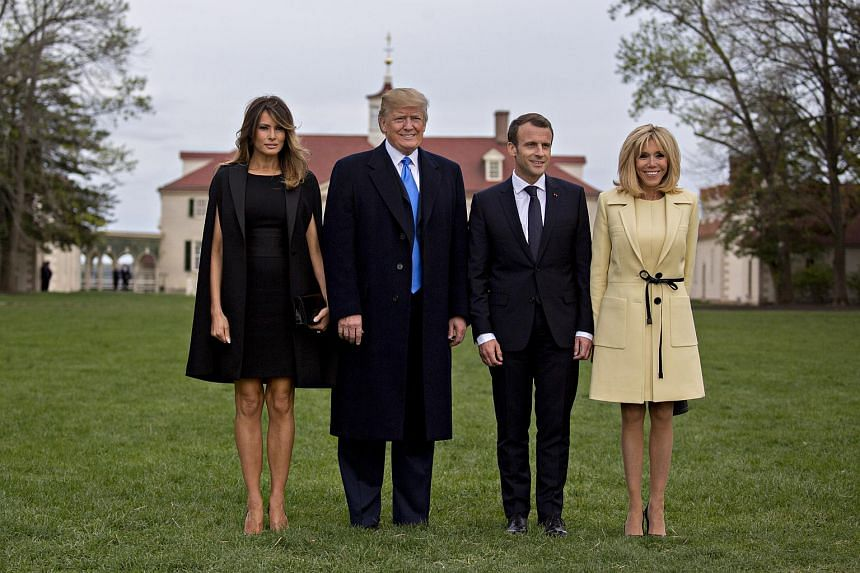 (From left) US First Lady Melania Trump, US President Donald Trump, French President Emmanuel Macron, and his wife First Lady Brigitte Macron, outside the Mansion at the Mount Vernon estate of first US President George Washington in Mount Vernon, on