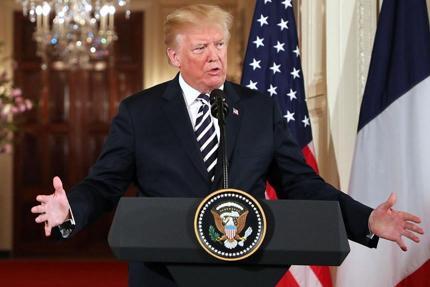 US President Donald Trump speaks during a joint press conference with French President Emmanuel Macron (not pictured) at the White House in Washington, DC, on April 24, 2018.