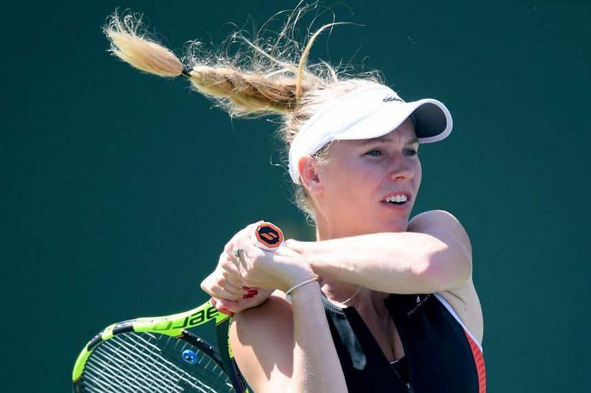 Wozniacki in action during the BNP Paribas Open at Indian Wells in the United States.