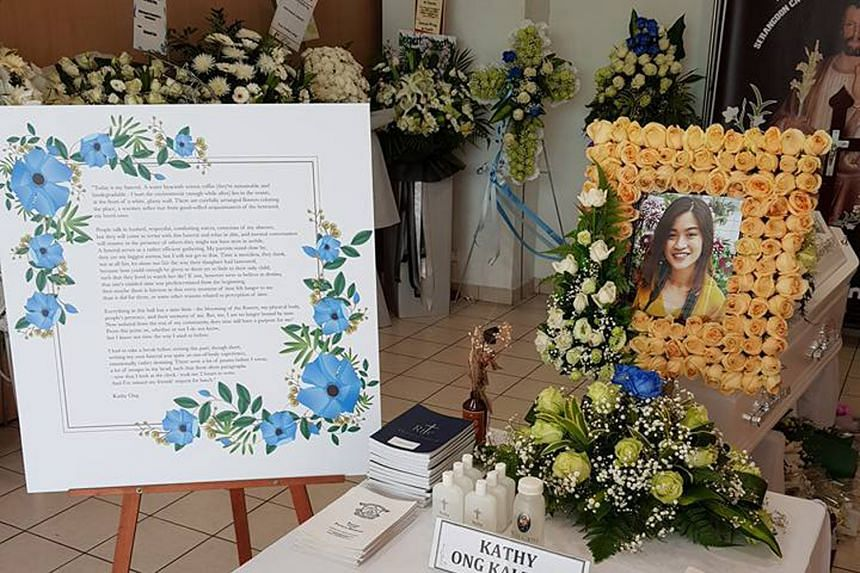 A photo taken at Miss Kathy Ong's wake at the Church of St Teresa in Kampong Bahru which was shared on Facebook by her father Keith Ong. In his post, Mr Ong shared how his daughter had written about her own death.