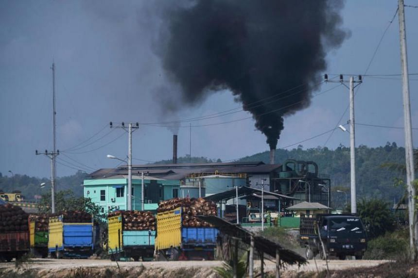Thick smoke spews from a crude palm oil factory in Langsa, Indonesia, on April 15, 2018.