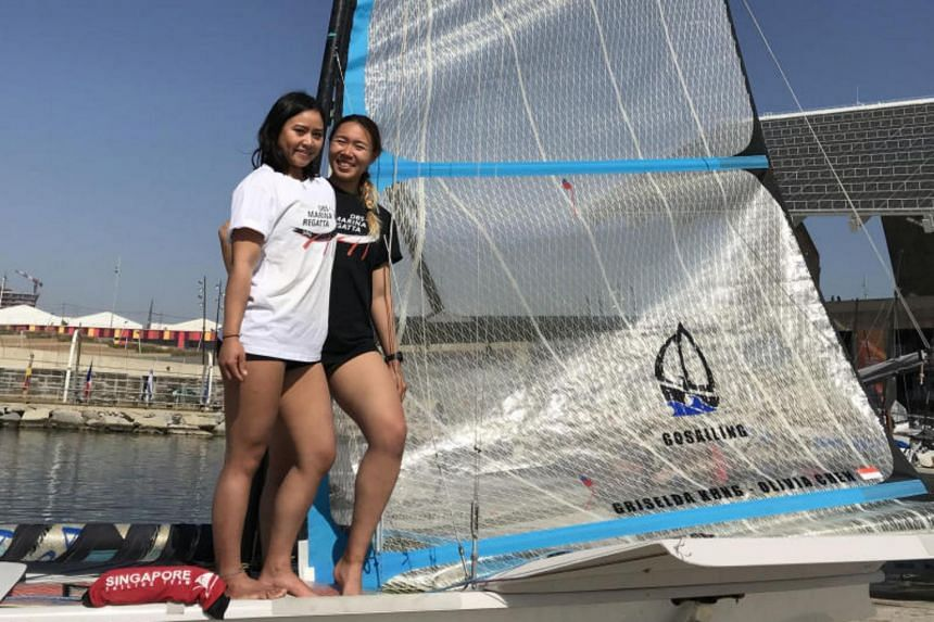 Sailors Griselda Khng and Olivia Chen are currently training full time in Barcelona.