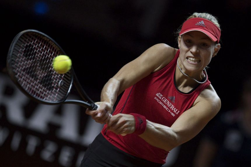 Kerber in action against Petra Kvitova of the Czech Republic.