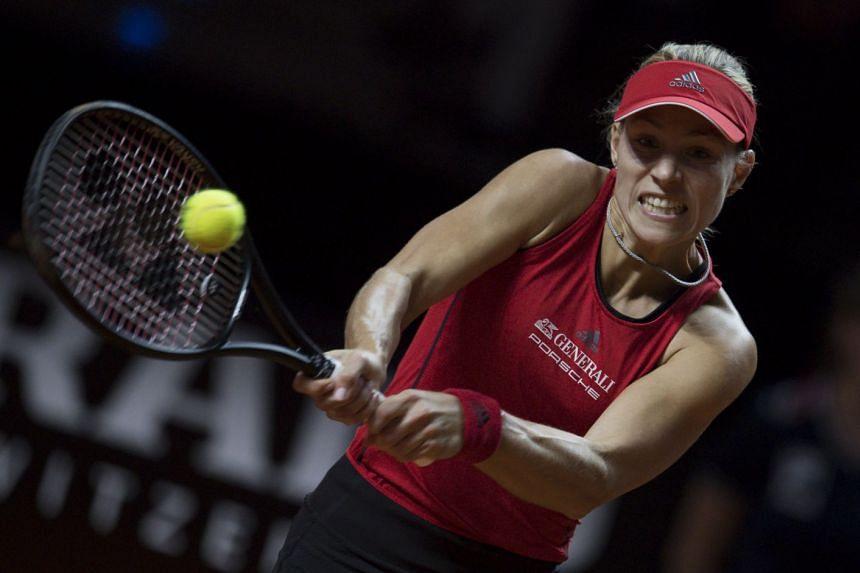 Kerber in action against Petra Kvitova of the Czech Republic.