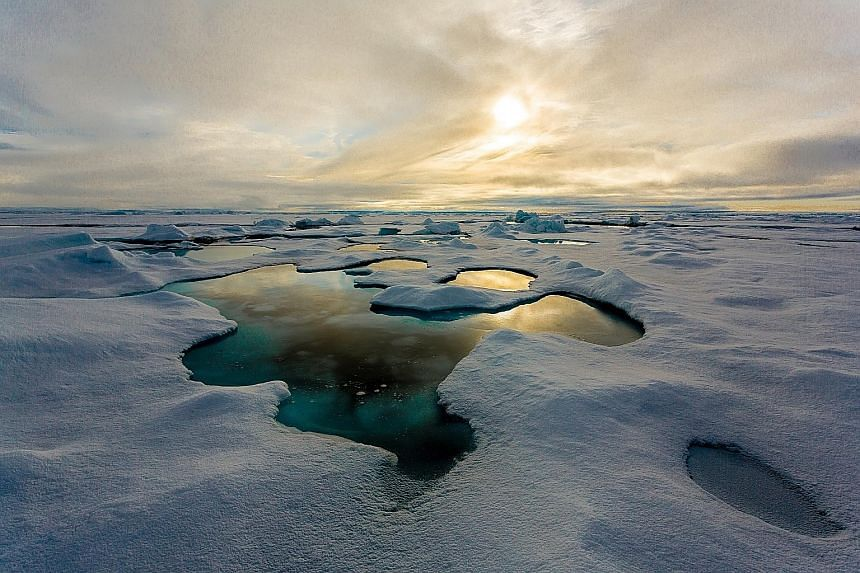 Ponds of melt water on sea ice in the Arctic region. The microplastics - plastic debris less than 5mm long - found in the sea ice here are a potential hazard as they can be released into the ocean as climate change leads to the melting of frozen wate