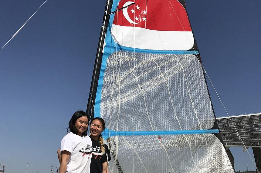 """Griselda Khng and Olivia Chen began sailing together in November 2016. Khng said their DBS sponsorship will cover """"coaching fees, transport, accommodation... basically almost everything""""."""