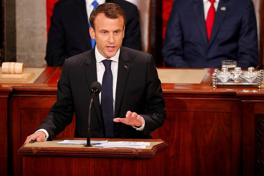 French President Emmanuel Macron addresses a joint meeting of Congress in the House chamber of the US Capitol in Washington, on April 25, 2018.
