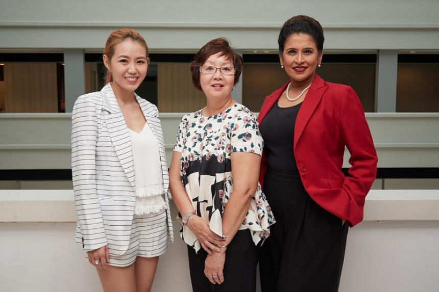 (From left) Singer-songwriter Tay Kewei, former director general of Intellectual Property Office of Singapore Liew Woon Yin and president of PrimeTime Business and Professional Women's Association in Singapore Lavinia Thanapathy.