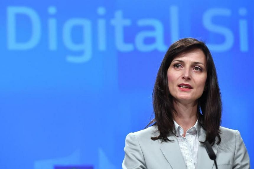 EU digital commissioner Mariya Gabriel at a press conference at the European Commission in Brussels on April 26, 2018.
