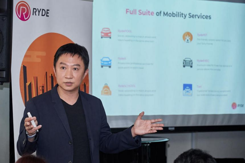 Ryde founder and CEO Terence Zou speaks to the media at the launch of its RydeX private-hire car service at the Intercontinental Hotel on April 26, 2018.