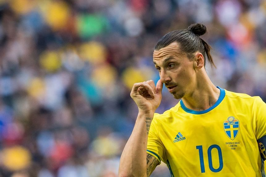 Zlatan Ibrahimovic reacts during a friendly between Sweden and Wales in 2016.