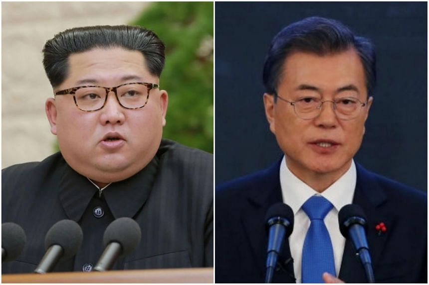 North Korean leader Kim Jong Un (left) will meet South Korea's President Moon Jae In at the military demarcation line in Panmunjom on April 27, 2018.