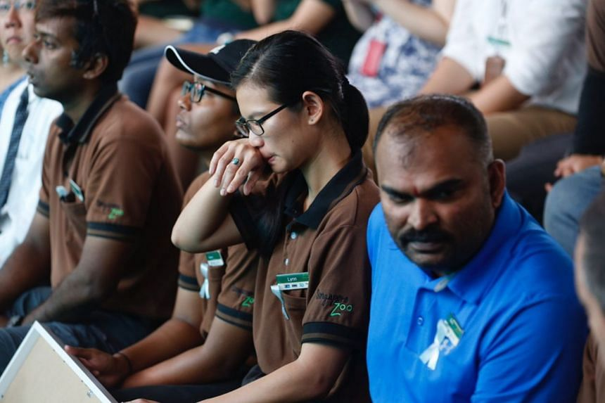 Singapore Zoo staff attending Inuka's tribute ceremony.