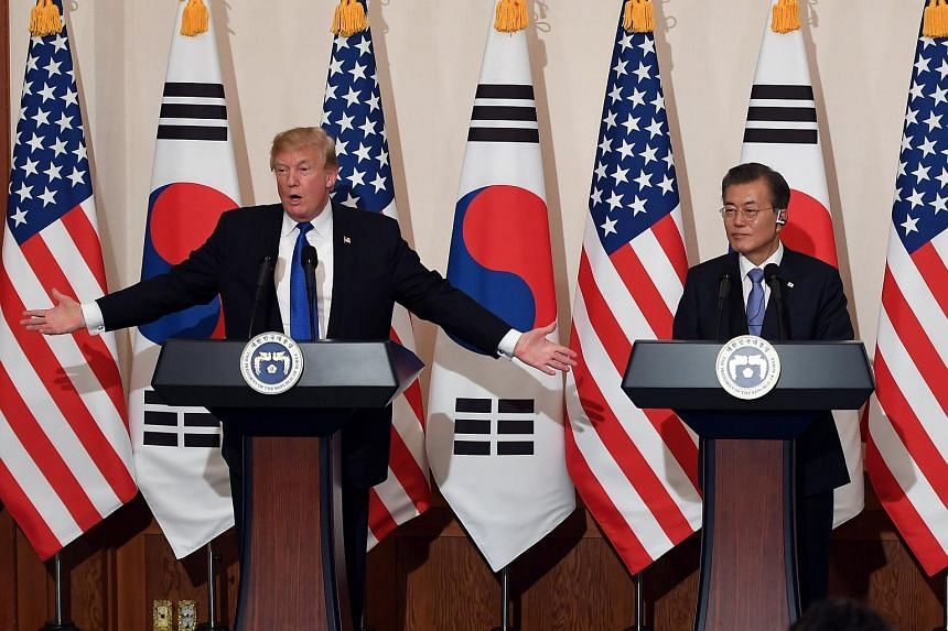 US President Donald Trumpat a joint press conference with South Korea's President Moon Jae In at the presidential Blue House in Seoul, South Korea on Nov 7, 2017.