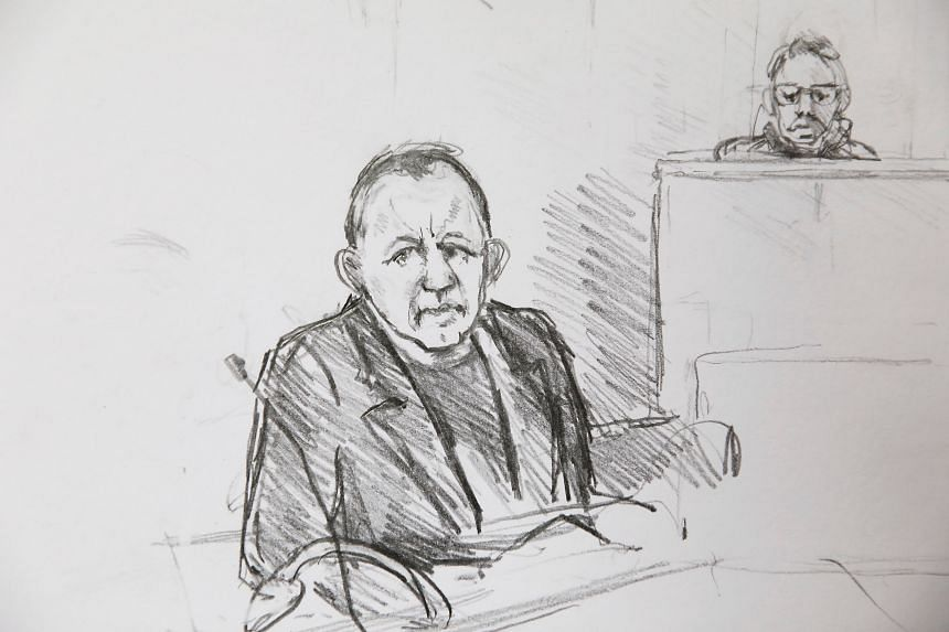 Court drawing of 47-year-old Peter Madsen during his trial at the courthouse in Copenhagen.