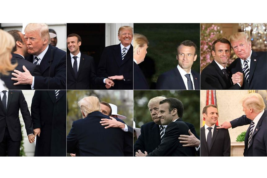 US President Donald Trump and his French counterpart Emmanuel Macron engaging in public displays of affection on Monday and Tuesday, during Mr Macron's state visit to Washington.