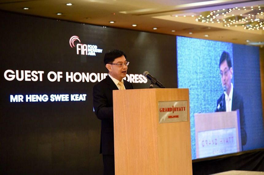 Finance Minister Heng Swee Keat speaks at the Food Industry Asia Food for the Future Summit at the Grand Hyatt Hotel on April 26, 2018.