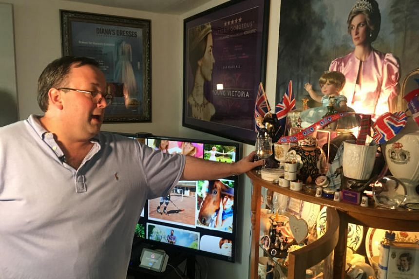 Mr John Hoatson shows his collection of royal family memorabilia at his home in Pompano Beach, Florida, on April 21, 2018.