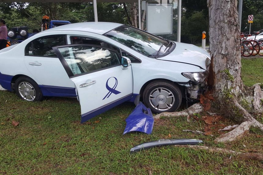 Photos circulating on social media showed the car's bonnet smashed against a tree.