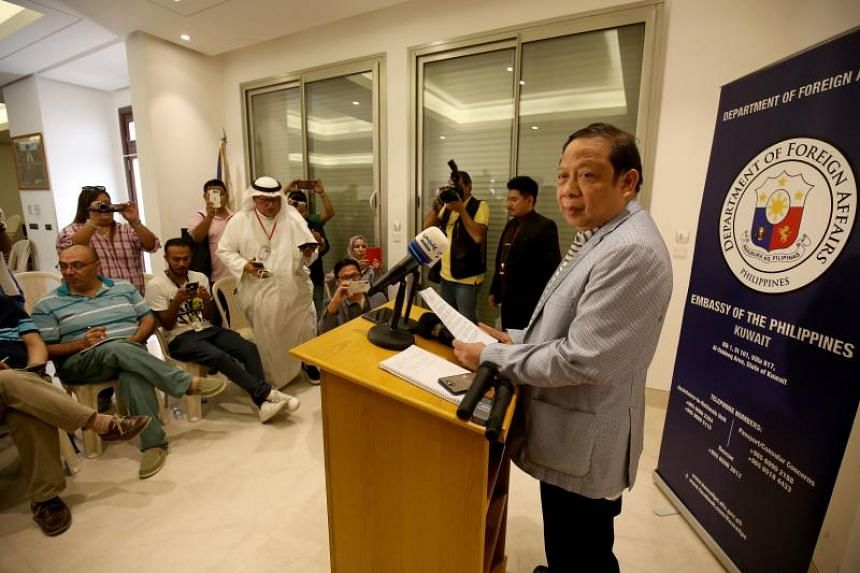 Philippine ambassador to Kuwait Renato Villa speaks during a press conference at the Philippine embassy in Kuwait City on April 21, 2018.