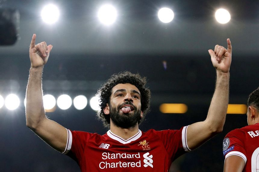 Liverpool's Mohamed Salah celebrates a goal.