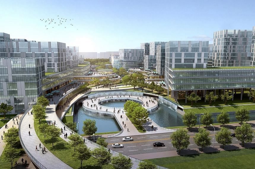 An artist's impression of the proposed business park, including research and development facilities, offices and civic and community facilities that support Ningbo's push to draw higher-tech manufacturing industries.