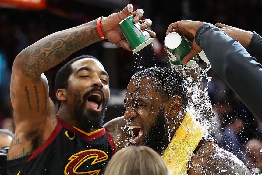 J. R. Smith showers Cleveland team-mate LeBron James with praise after the latter was instrumental in a last-gasp 98-95 win over Indiana in Game 5 of the play-offs.