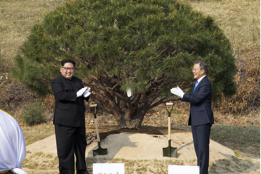 """North Korean leader Kim Jong Un and South Korean President Moon Jae In said they """"solemnly declare"""" that there will be no more war on the Korean Peninsula."""