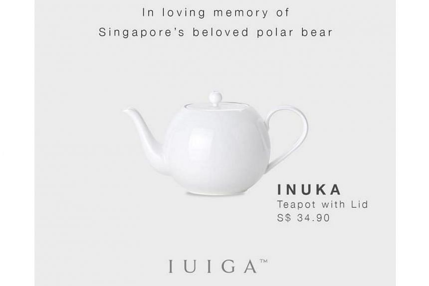 Homeware retailer Iuiga was criticised for marketing a line of teapots after the Singapore Zoo's polar bear Inuka.