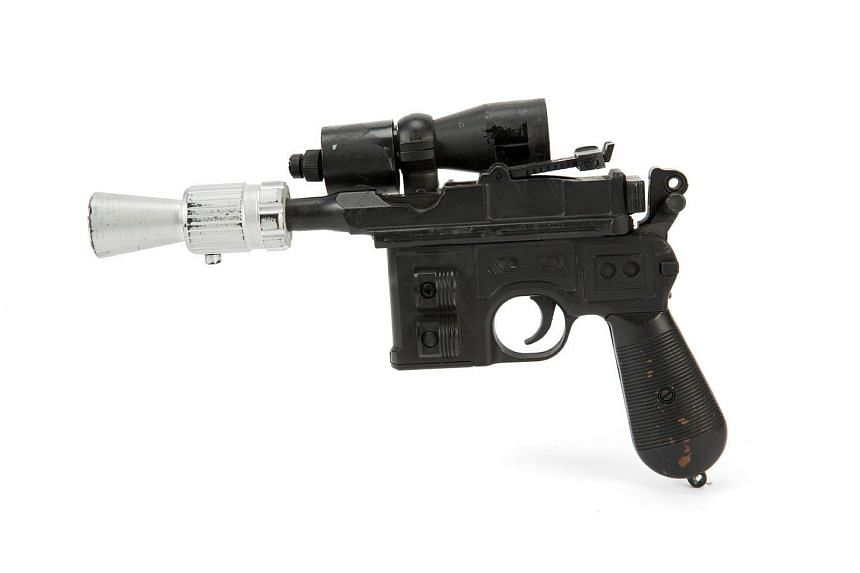 The hero blaster gun, seen in the movie Star Wars: Return Of The Jedi, will be auctioned in Las Vegas and online, with a pre-sale estimate of US$300,000 to US$500,000.