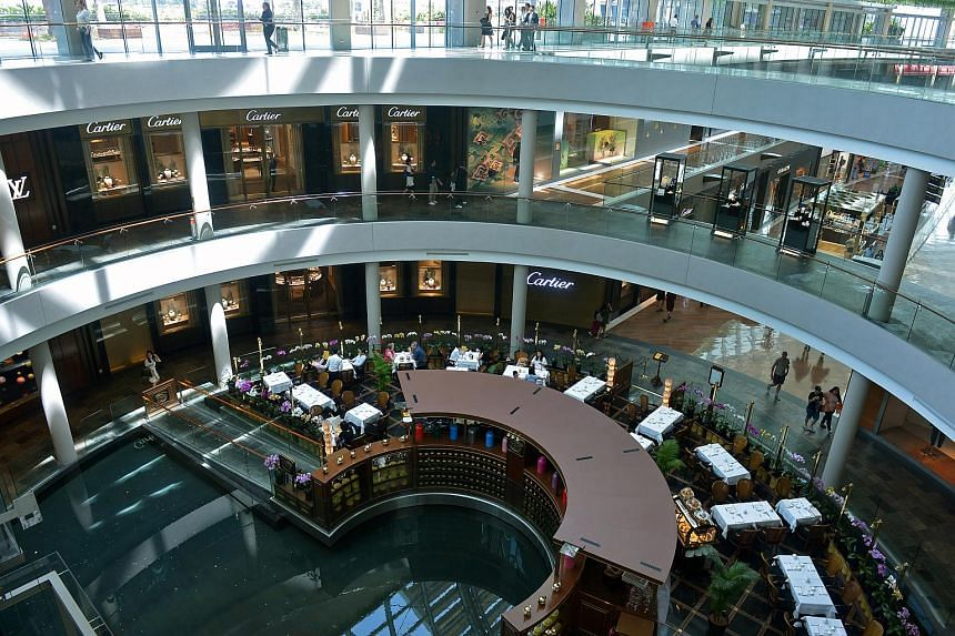 Retail stores at The Shoppes at Marina Bay Sands. Retail space in the central region inched up 0.1 per cent quarter on quarter in the first quarter of 2018.
