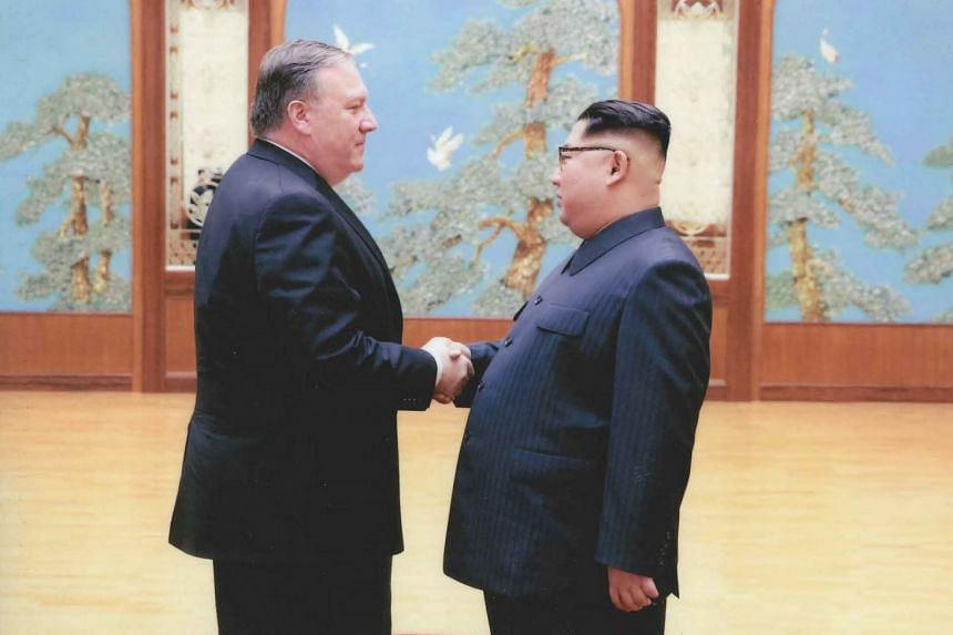 A US government handout photo shows the US' new Secretary of State Mike Pompeo meeting North Korean leader Kim Jong Un in Pyongyang.