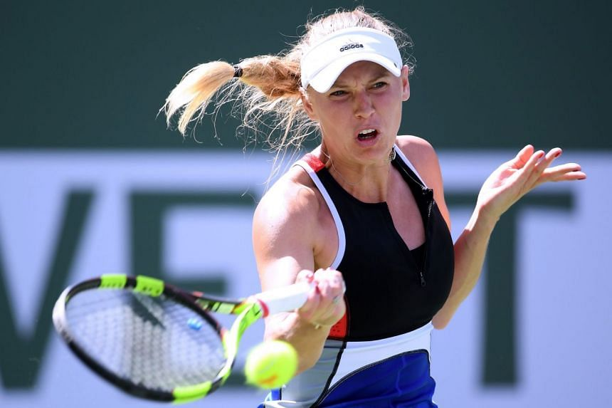 Wozniacki in action during the BNP Paribas Open at Indian Wells in the US.