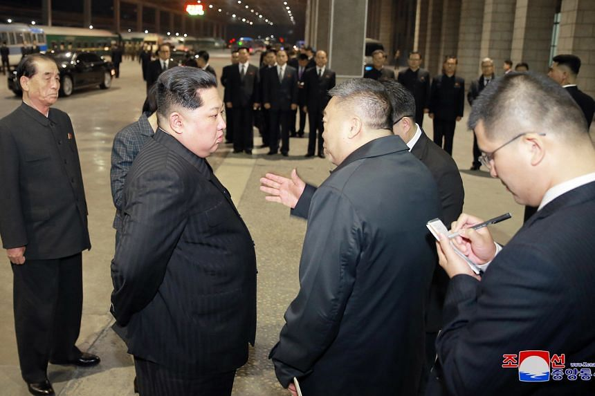 North Korean leader Kim Jong Un visiting the Pyongyang Railway Station on Wednesday to see off a special-purpose train carrying the bodies of Chinese tourists killed in a bus accident in North Korea.