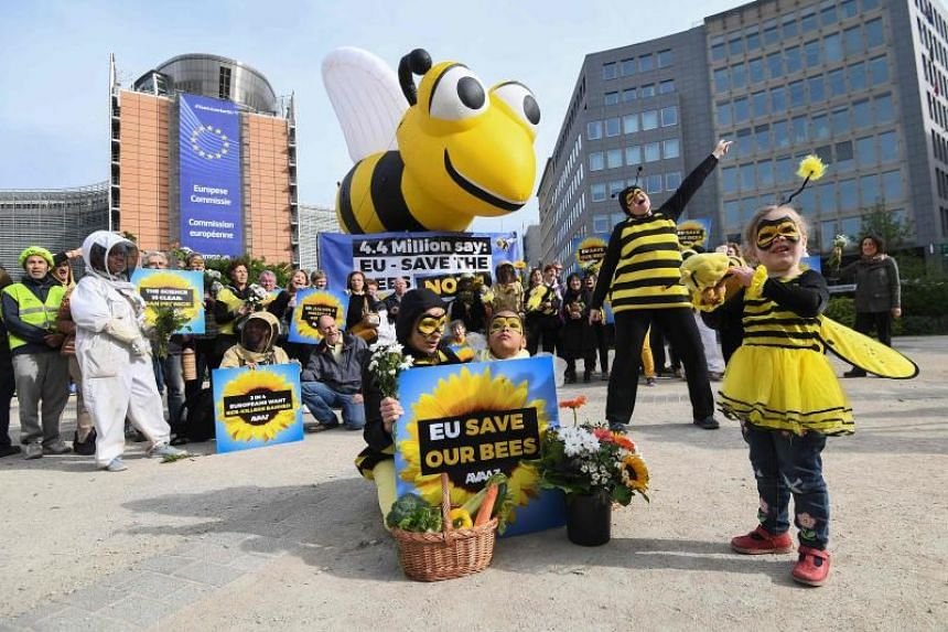 Activists stage a demonstration to call upon European Union member states to protect bees by voting a full ban on bee-killing pesticides, in front of the European Commission in Brussels on April 27, 2018.