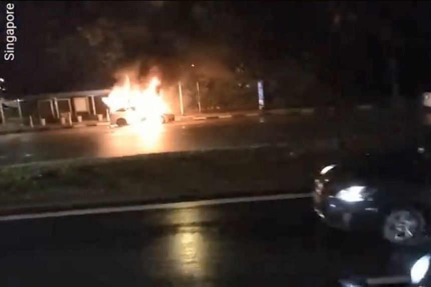 A video posted on Facebook by William Yong shows the vehicle blazing on the leftmost lane, by a bus stop.