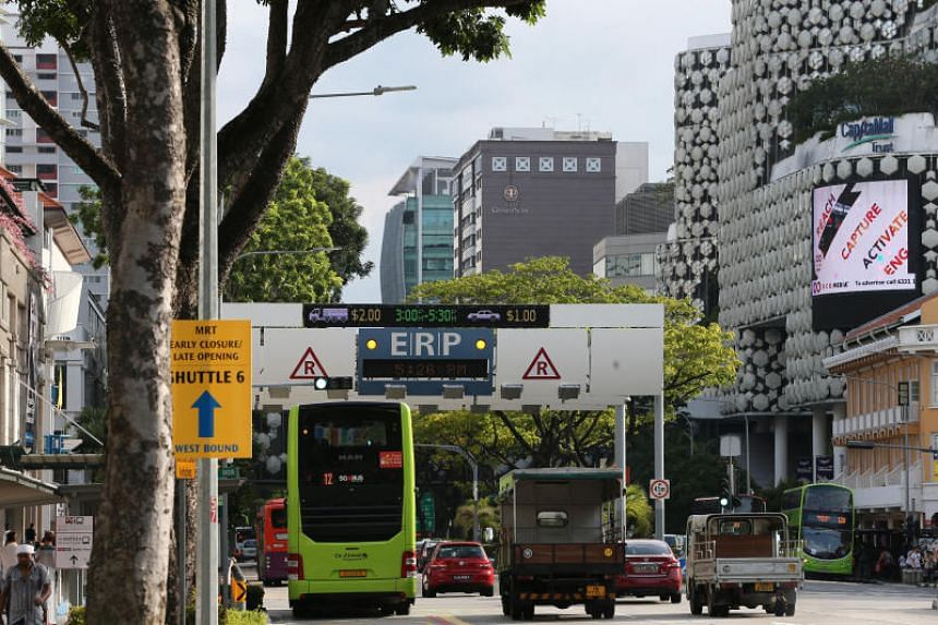 An Electronic Road Pricing (ERP) gantry along Victoria Street.