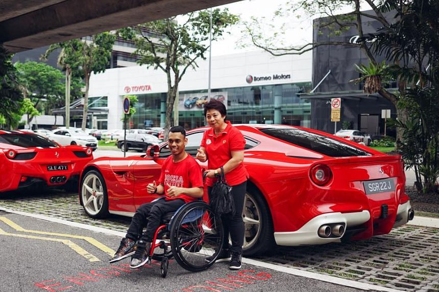 Seven national boccia athletes were treated to rides in Ferarri sports cars before they played an exhibition game.
