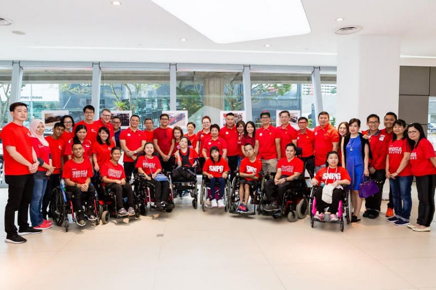 National boccia athletes and guests at the Boccia Friend for the World event hosted by Ital Auto, the Ferrari Owners Club Singapore and Boccia Singapore.