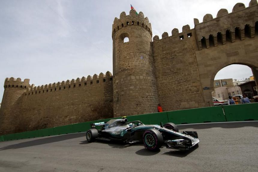 Mercedes' Valtteri Bottas in action during the first practice session for the Azerbaijan Formula One Grand Prix at the Baku City Circuit on April 27, 2018.