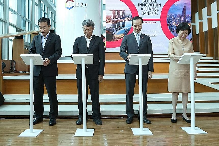 From left: Enterprise Singapore CEO Png Cheong Boon, Thailand's Vice-Minister of Digital Economy and Society Pansak Siriuchatapong, Singapore's Senior Minister of State for Trade and Industry and National Development Koh Poh Koon, and Singapore's Amb