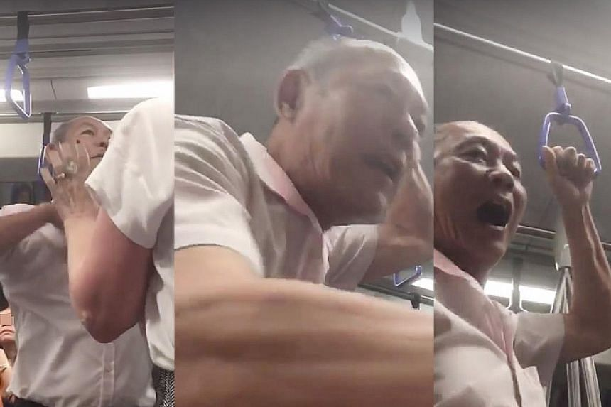 Gan Thean Soo (above) was caught on video (right) asking an American man on an MRT train to have sex with him in April last year, and turned violent when the victim said he was not gay.