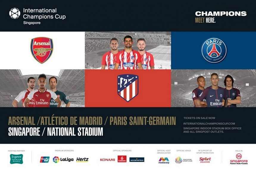 This year's edition of the ICC Singapore will feature French Ligue 1 champions Paris Saint-Germain and Europa League semi-finalists, Arsenal and Atletico Madrid.