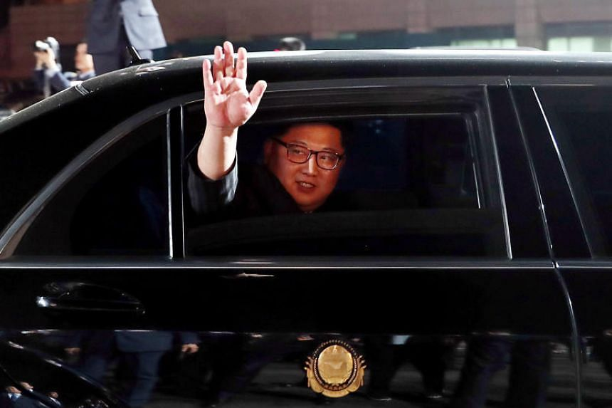 North Korean leader Kim Jong Un (pictured) bids farewell to South Korean President Moon Jae In as he leaves after a farewell ceremony at the truce village of Panmunjom inside the demilitarized zone separating the two Koreas, South Korea, on April 27,
