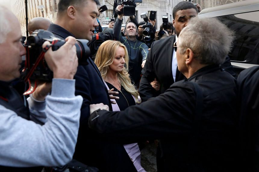 Adult-film actress Stormy Daniels departing federal court in the Manhattan borough of New York City, on April 16, 2018.