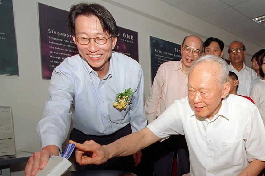 With Mr Lee Kuan Yew. He was first elected to a GRC led by Mr Lee in 1996.