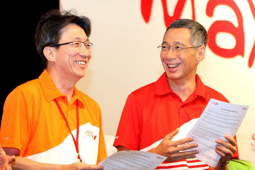 Dr Yaacob Ibrahim and PM Lee at the opening of Marina Barrage in 2008. Then labour chief Lim Swee Say and PM Lee attending the May Day Rally in 2010. Mr Lim Hng Kiang with Prime Minister Lee Hsien Loong at a youth forum in 1995.