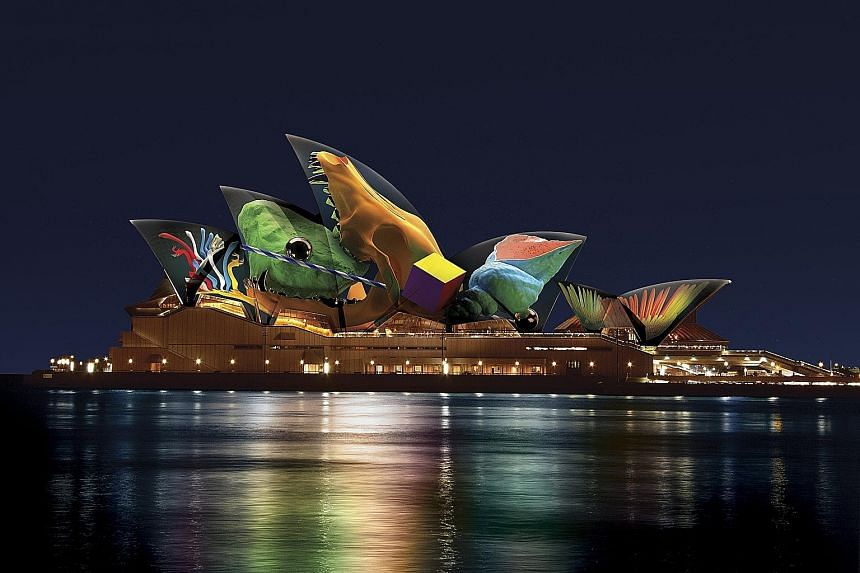 The sails of the Sydney Opera House (artist's impression) will be transformed into a series of kinetic digital sculptures during the Vivid Sydney festival. At the Cheung Chau Bun Festival in Hong Kong, children dress up in costume to re-enact a parad