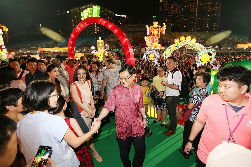 Finance Minister Heng Swee Keat at the River Hongbao celebrations at The Float @ Marina Bay in February. Mr Heng will set the national agenda for research and development, taking over from DPM Teo Chee Hean. Labour chief Chan Chun Sing at a Chinese N