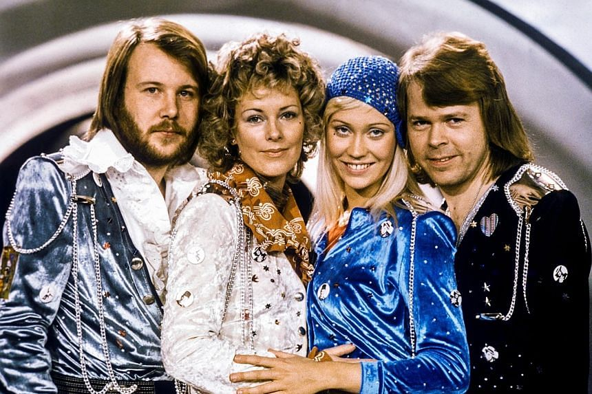 Pop group Abba - (from left) Benny Andersson, Anni-Frid Lyngstad, Agnetha Faltskog and Bjorn Ulvaeus - after winning the Swedish round of the Eurovision Song Contest in 1974 with the song Waterloo. The group has recorded two new songs, one of which w